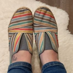 Toms Rainbow Striped Flats